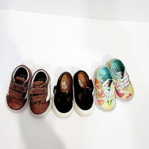 3 pairs baby girl vans sneaker shoes